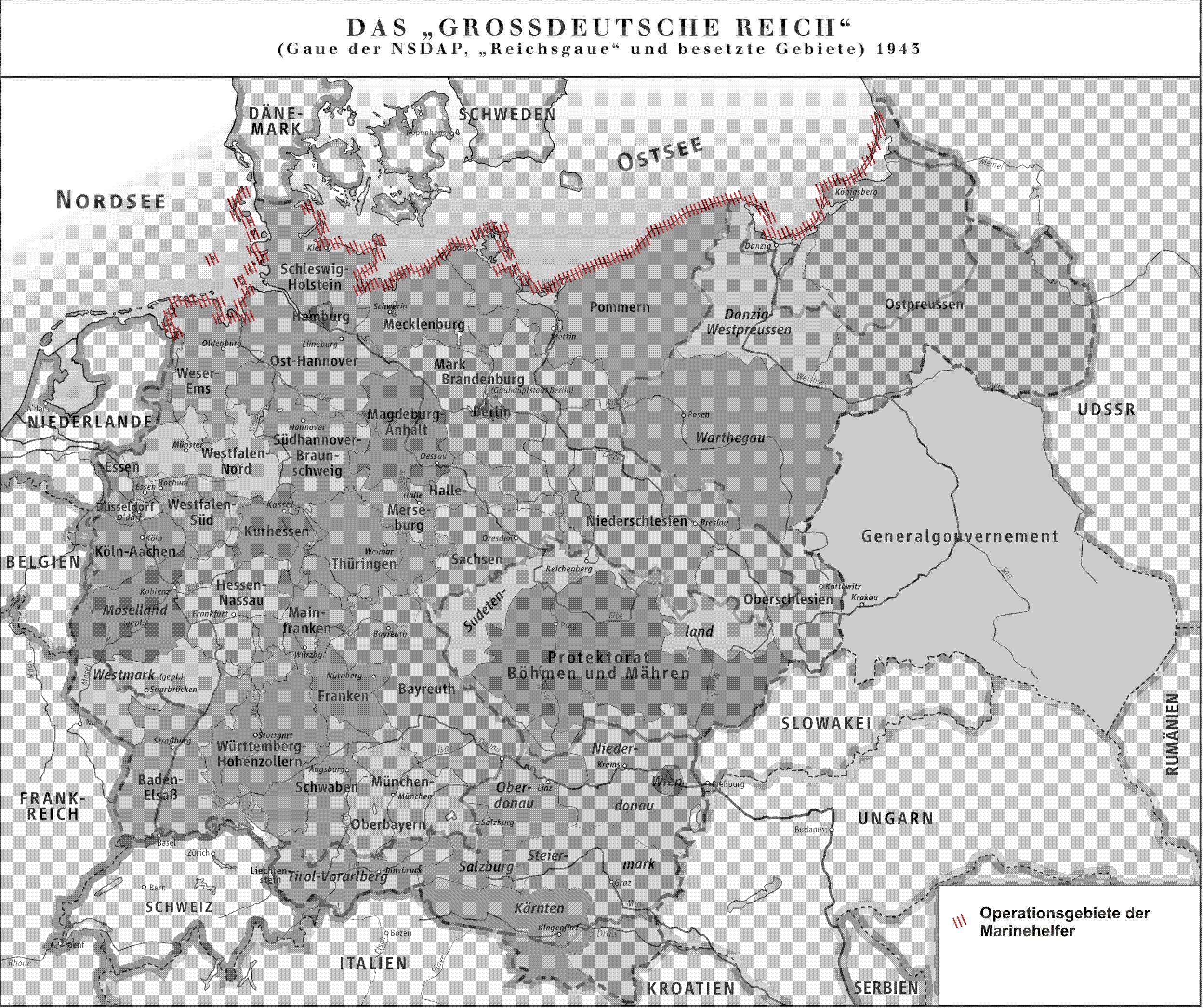 """Karte des """"Großdeutschen Reiches"""" 1943. An der Küste dargestellt das Operationsgebiet der Marinehelfer Author GDR.png: ziegelbrenner"""