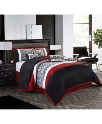 Aubrey 7 Piece Reversible Comforter Set Black Red King Black