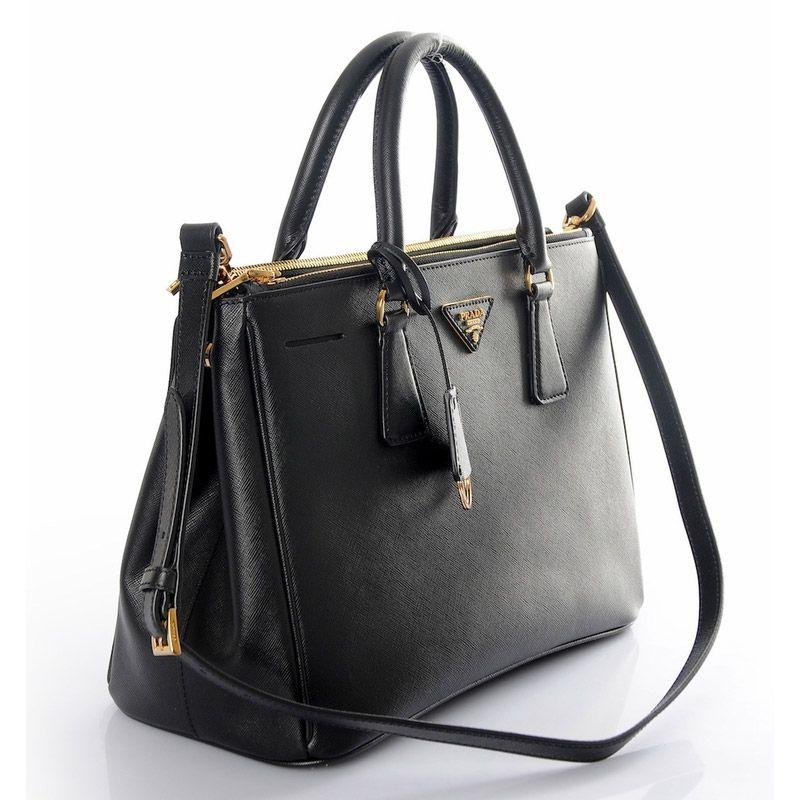 new prada saffiano leather handbag in black milano