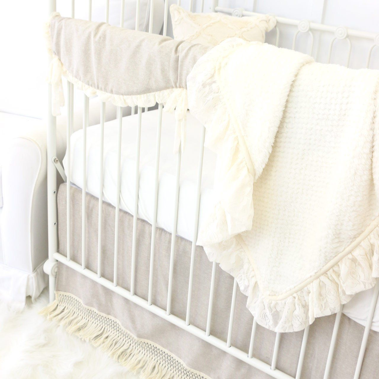 Close Up Of Linen Ivory Neutral Crib Bedding Set