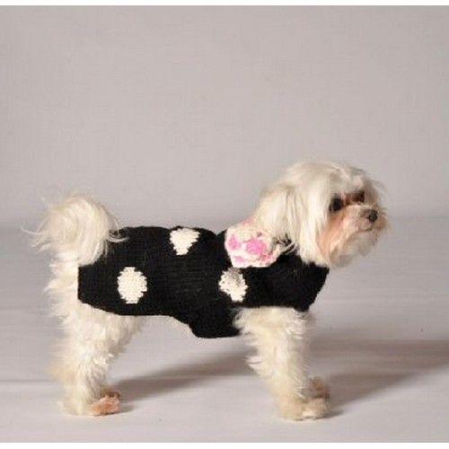 Black Polka Dot Flower Dog Handmade Sweater, Medium