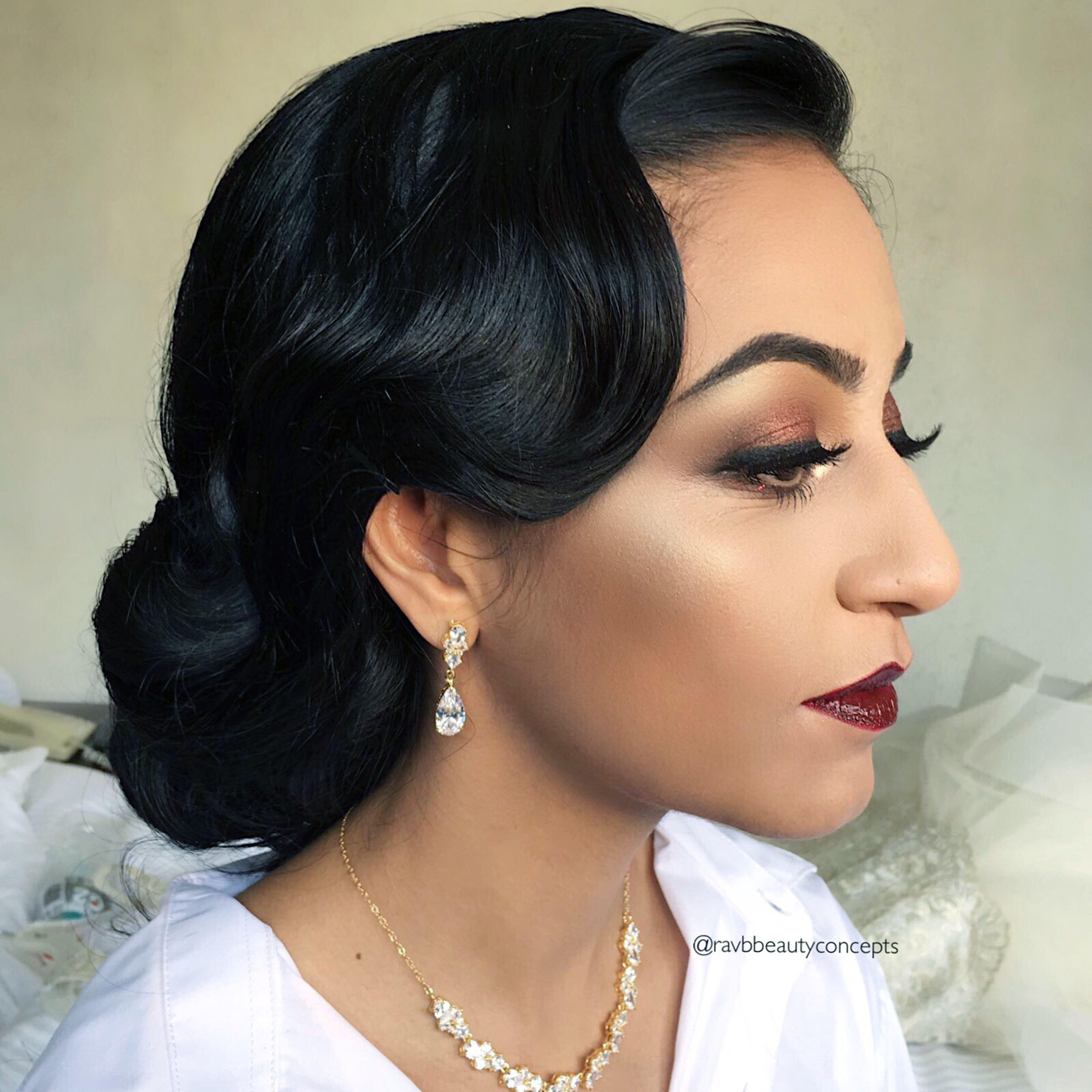 Indian Bridal Makeup Hair Bride Wedding Vintage Up Do Glam Old Hollywood