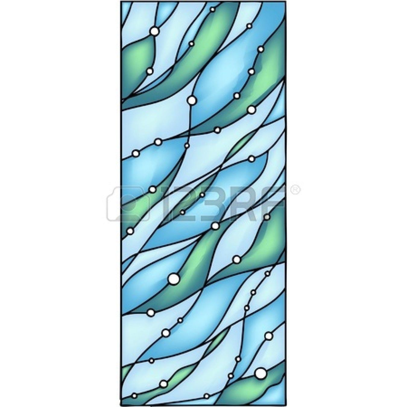 Abstract hand-drawn composition - Under the Sea  Vector illustration in stained glass window Stock Vector