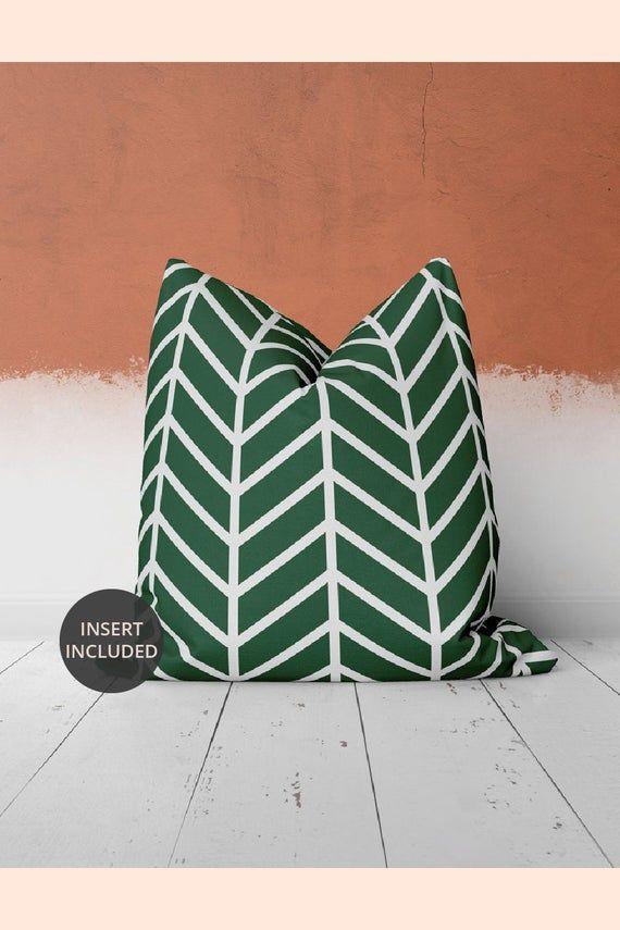 Geometric Art Green Boho Pillow | Green and White Pillow | Bohemian Modern | 16''x16'', 18''x18'', 2