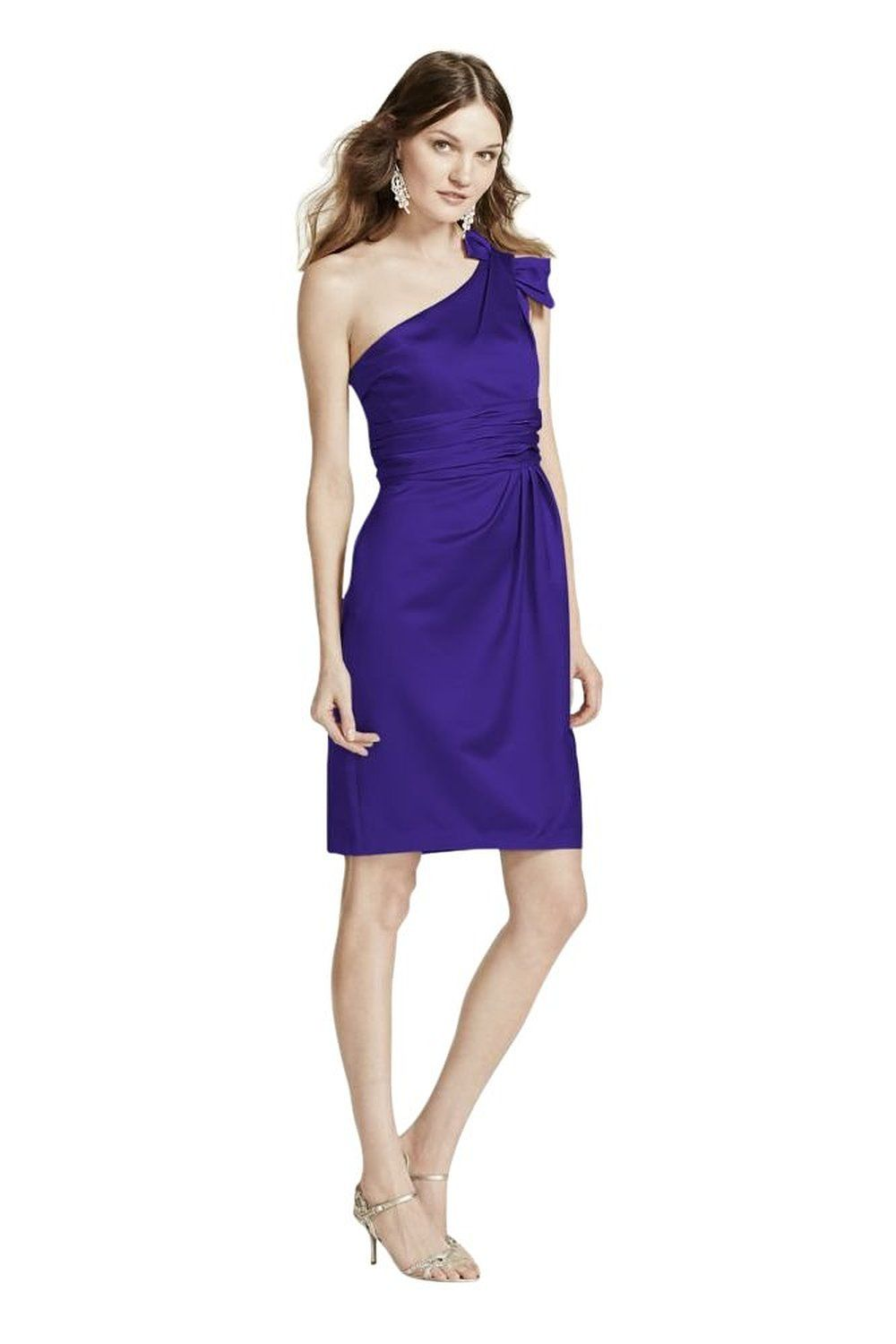 Satin One Shoulder Bridesmaid Dress with Ruching Style 84333 at ...