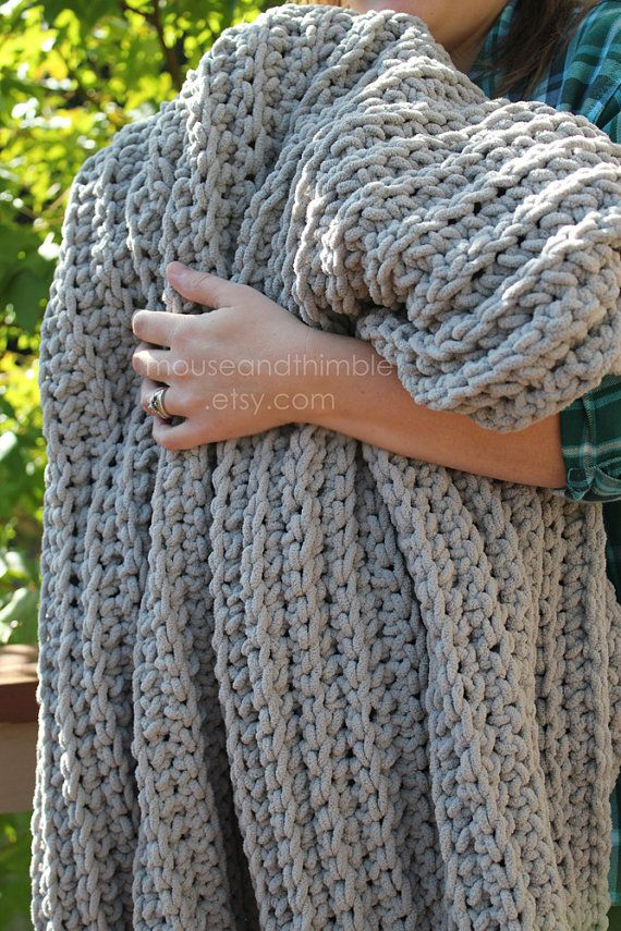 Bulky Afghan Lap Blanket Pale Gray White Taupe Or Black Made To