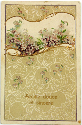 Art Nouveau floral pattern French antique embossed post card