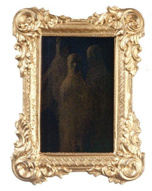 "Dollhouse Miniature Victorian Ghost Mirror Gold Frame Halloween 2¾""T x 2""W"
