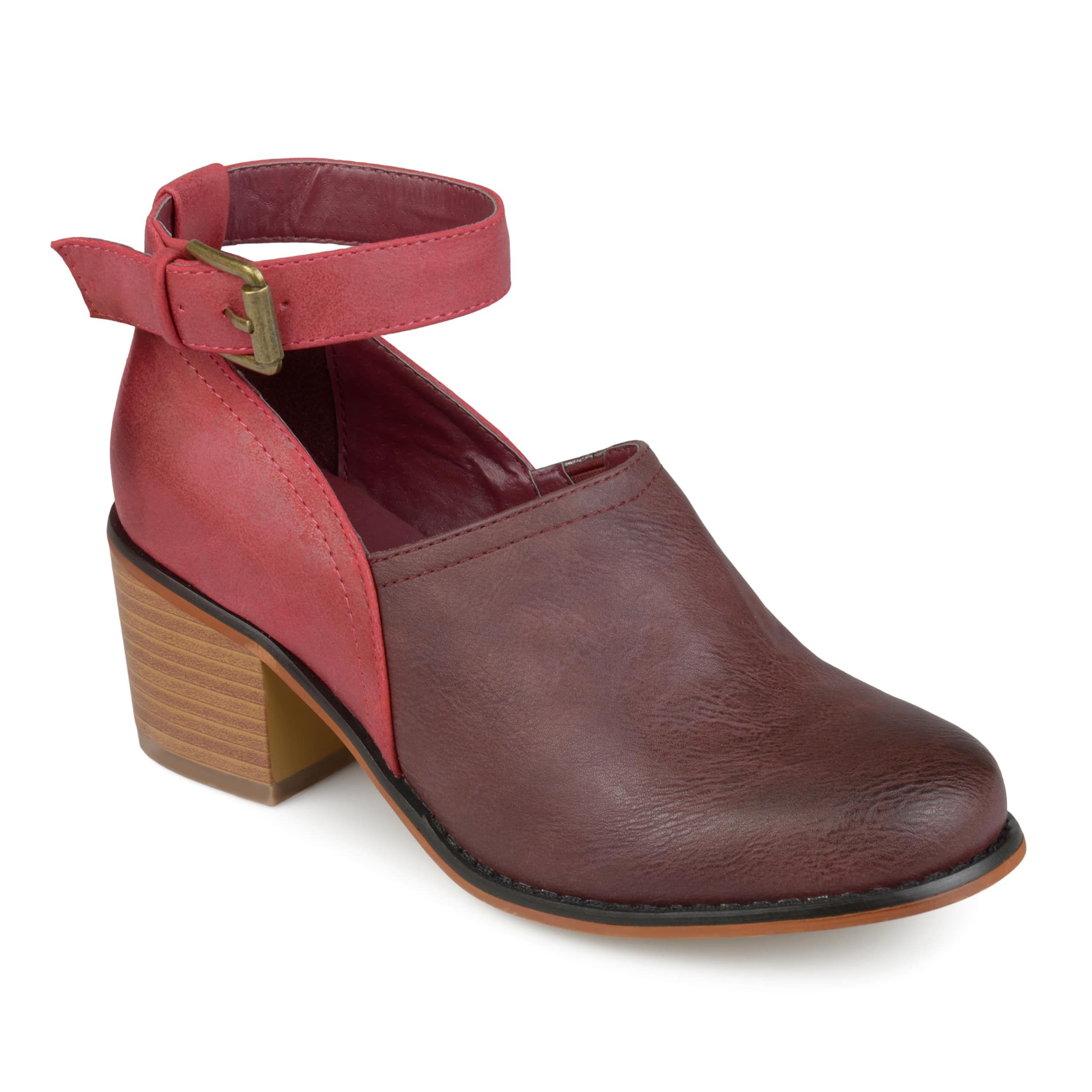 Womens Ankle Strap Stacked Heel Clogs