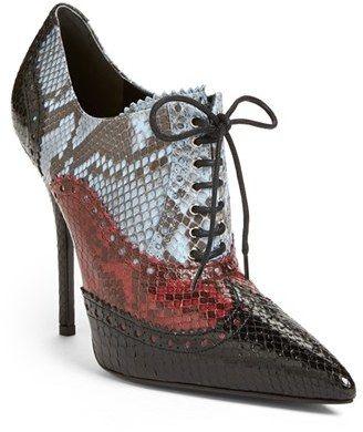 Gucci 'Gia' Genuine Python Pointy Toe Bootie (Women)    <>  @kimludcom