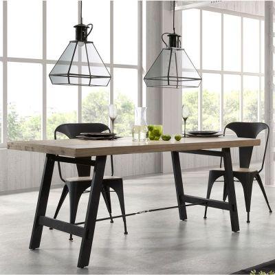Table de salle à manger en bois et métal Easy, de design moderne