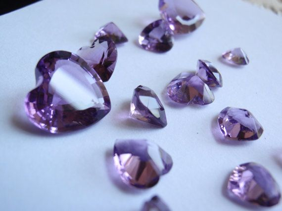 Amethyst Natural Heart Shape Loose Gems 15 Pieces by cutterstone, $46.00