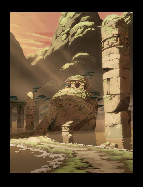 Oban Star-Racers backgrounds by Thomas Romain.