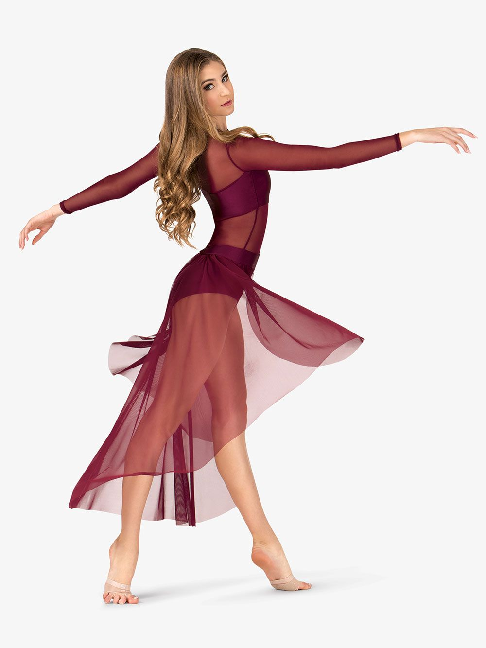 0763455c92ad Adult Long Sleeve High-Low Dance Performance Dress in 2019