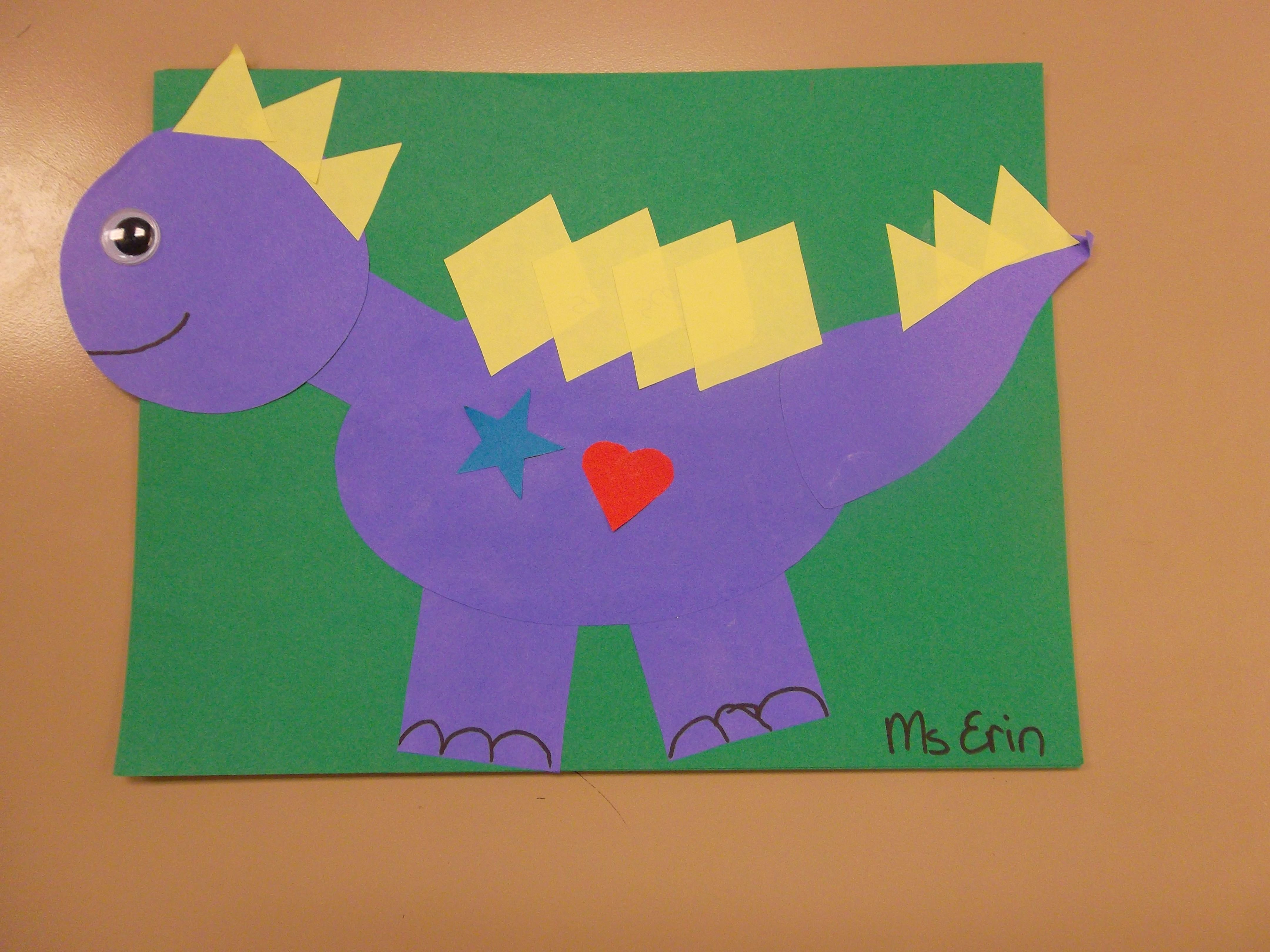 Shapeasaurus, Dinosaur Craft Made Out Of Shapes. We Read