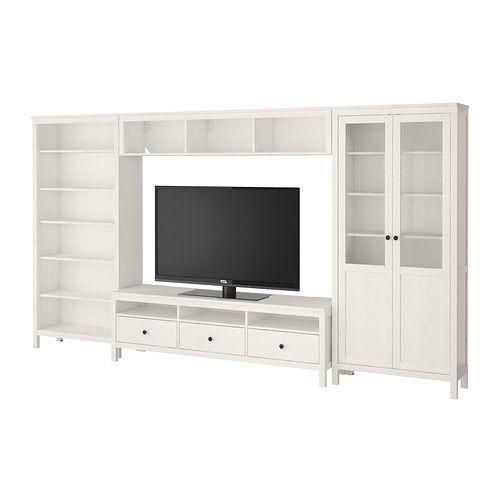 Ikea - Hemnes, Tv-möbel, Kombination, Weiß Gebeizt, | Tv Room ... Hemnes Wohnzimmer Weis