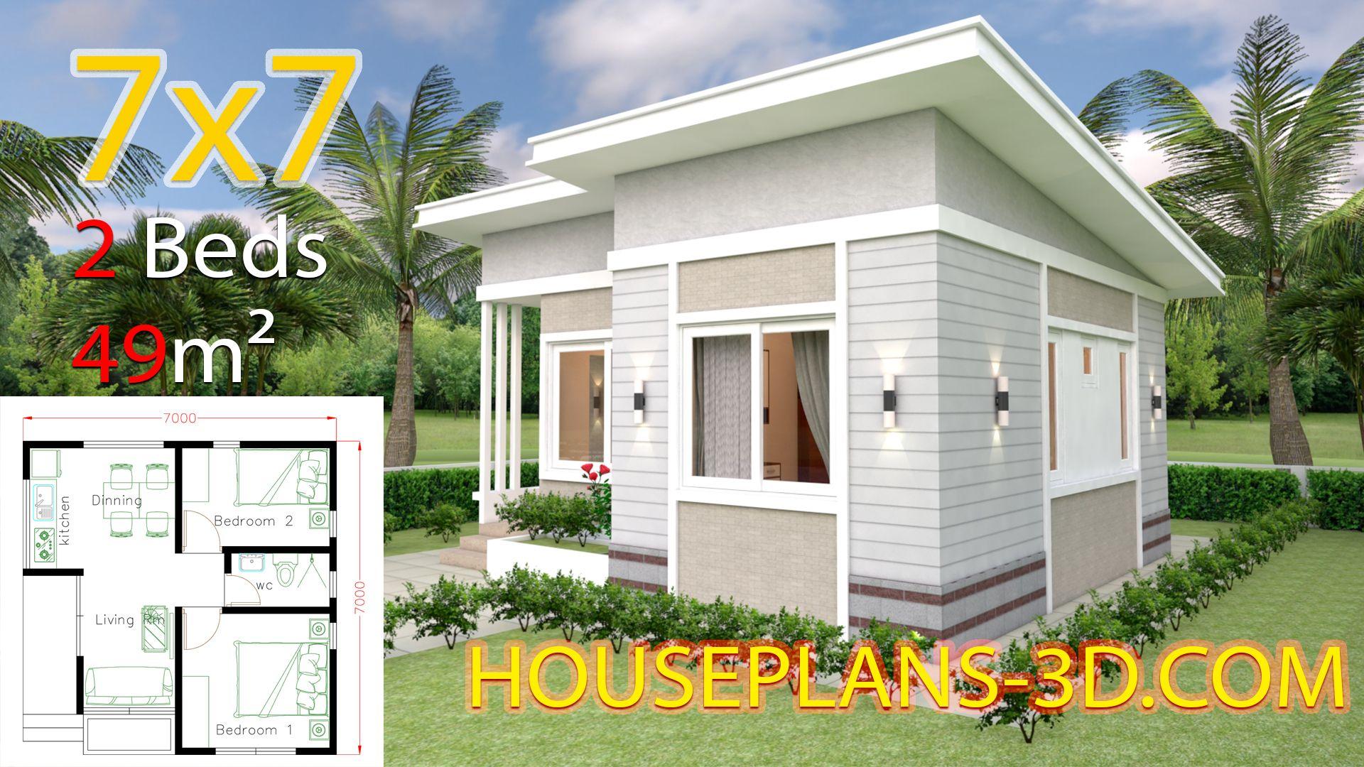 Small House Design 7x7 with 2 Bedrooms - House Plans 3D in 2020 ...