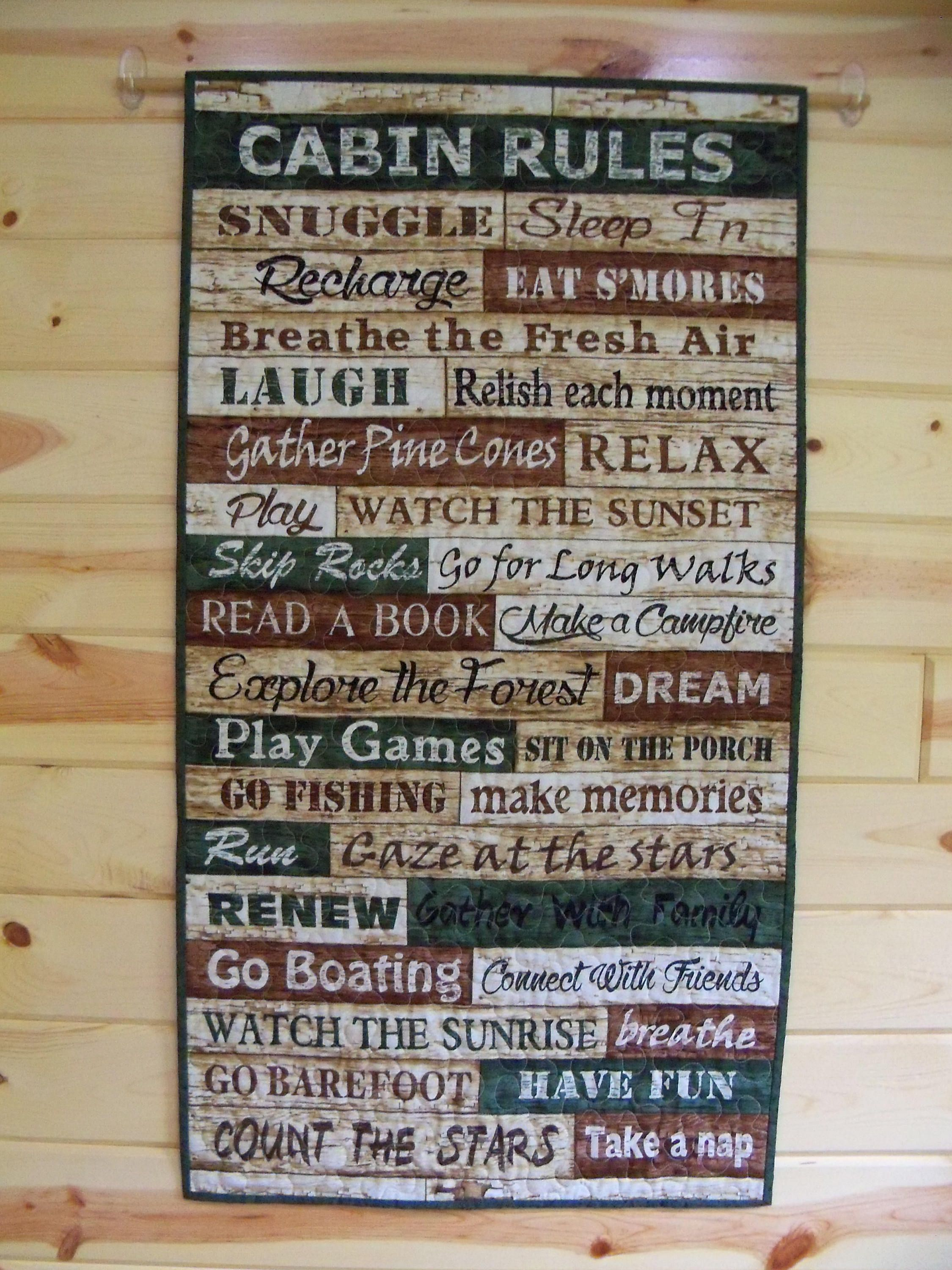 Wall Hanging Quilt Cabin Rules Printed Words Door Banner Wall ... : handmade quilted wall hangings - Adamdwight.com