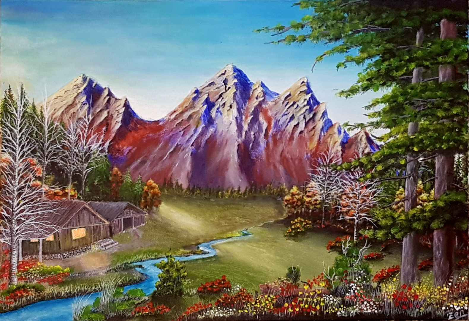 Rusty Mountains Landscape Acrylic Painting On Canvas Pasli Daglar