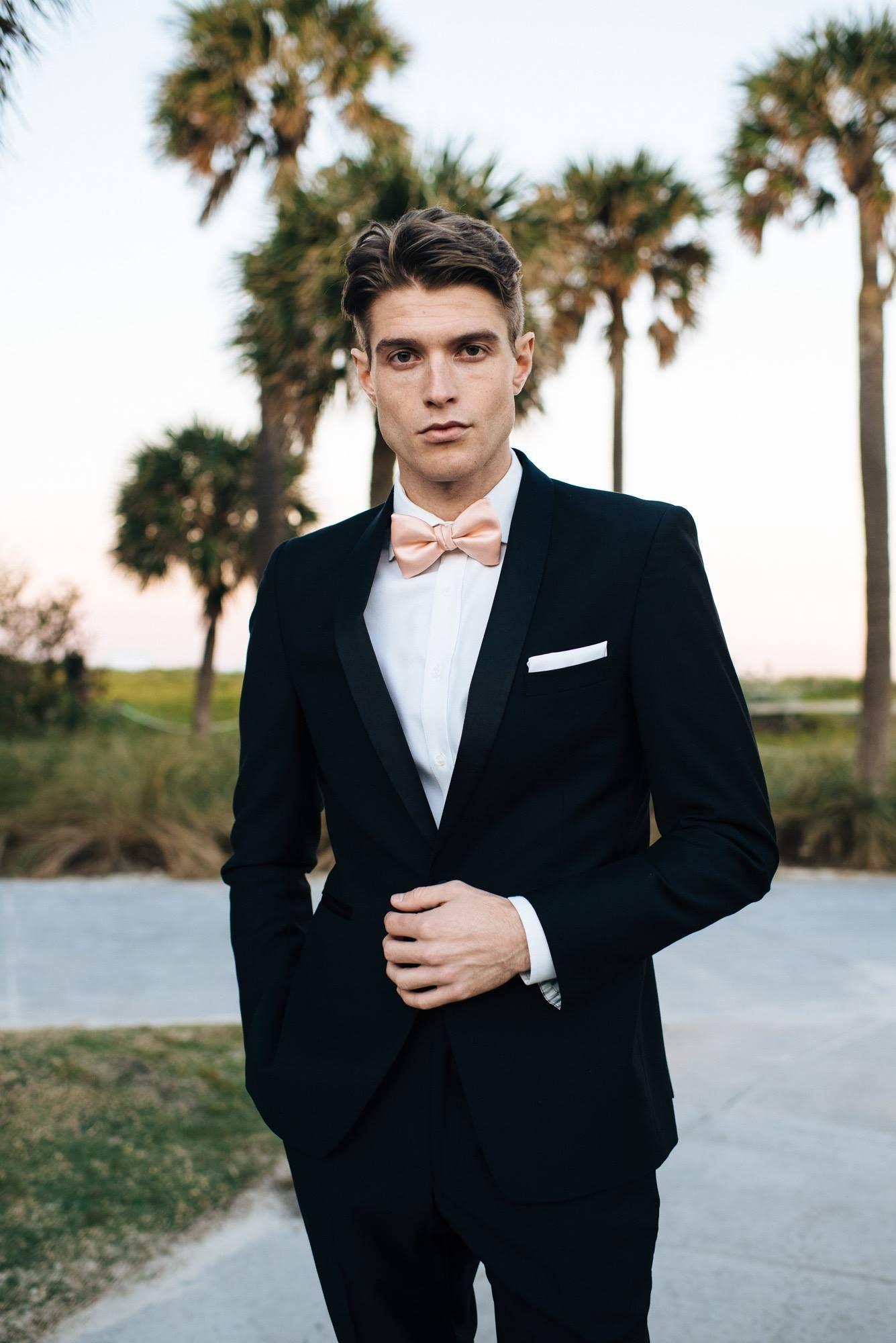 Black Suit with peach tie Tuxedo wedding, Wedding suits