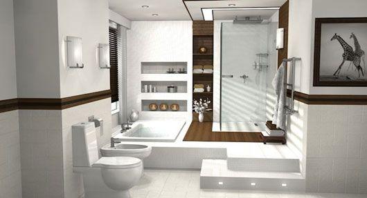 bright white bathroom with sunken bath   haus design