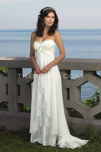 Sexy White Empire Wedding Dress with Flowing Skirt, Beach Wedding ...