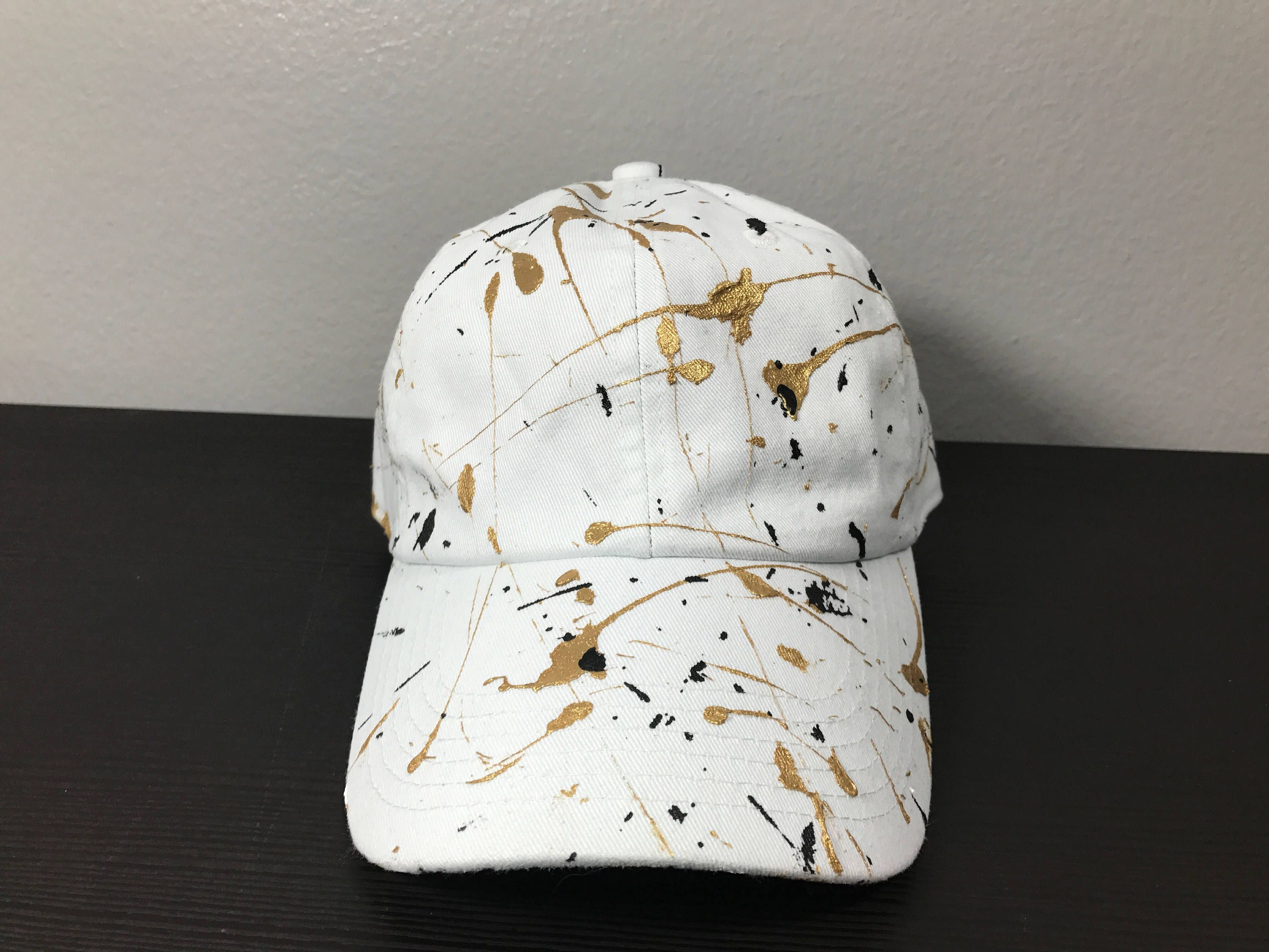 Custom Splatter paint dad hat  white 2f27d4a57e8