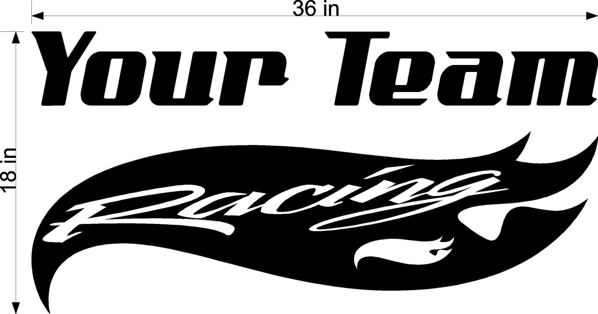 Racing Team Name Trailer Decal - Vinyl Decal - Custom Text -Trailer Sticker - YT009