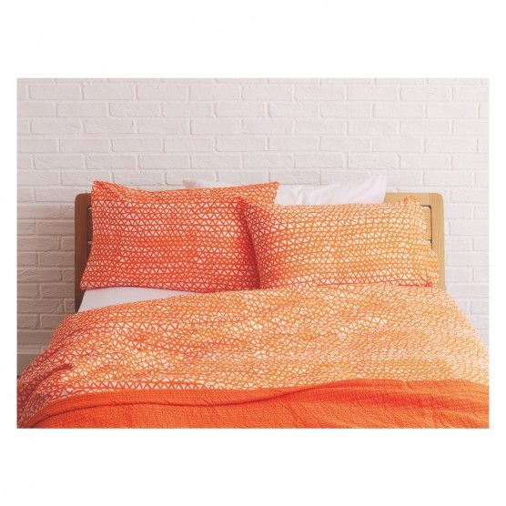 Noah Orange Triangle Print Kingsize Duvet Cover Set Now At Habitat Uk