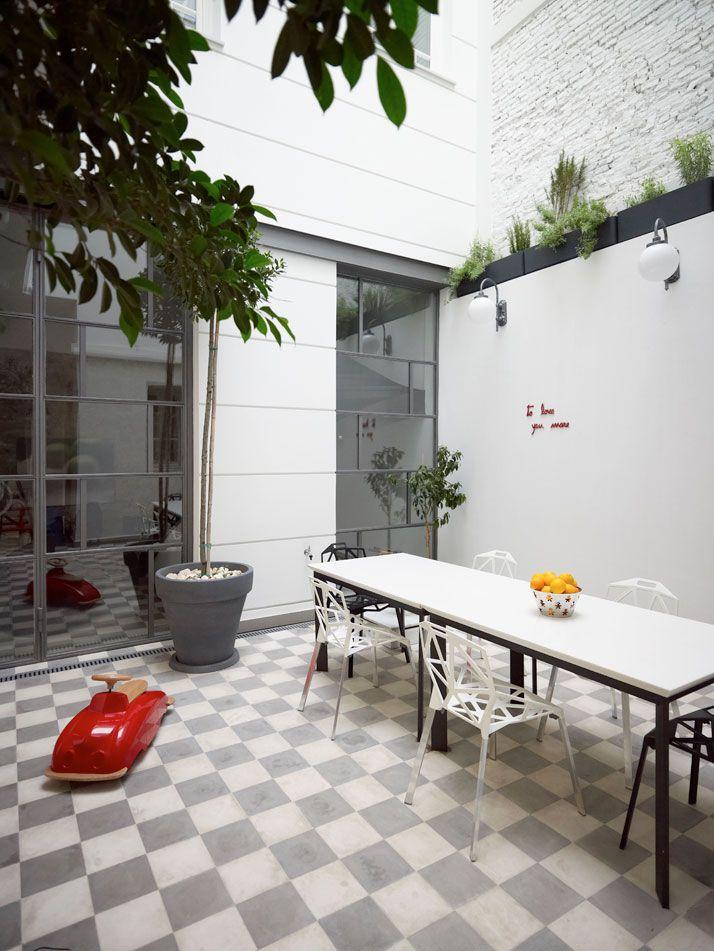 damero blanco y gris pisos Pinterest Patios, Outdoor dining