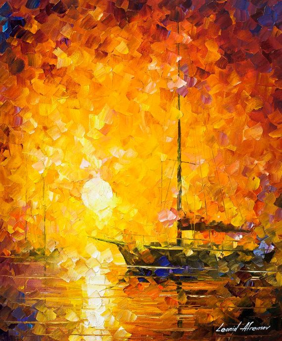 Glows Of Passion — PALETTE KNIFE Seascape Modern Wall Art Decor Oil ...