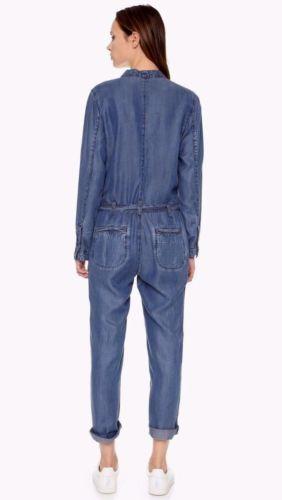 7869f032f1 Free-People-Lou-Denim-Jumpsuit-Chambray-Plunge-V-Neck-Imperial-Blue-OB451087