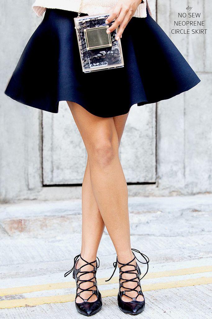 Make a neoprene circle skirt - with no sewing required! www.apairandasparediy.com