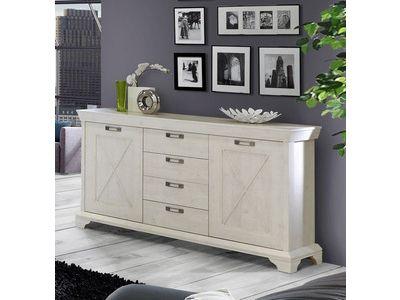 bahut 2 portes 4 tiroirs kashmir coloris lasur blanc design contemporain pinterest bahut. Black Bedroom Furniture Sets. Home Design Ideas