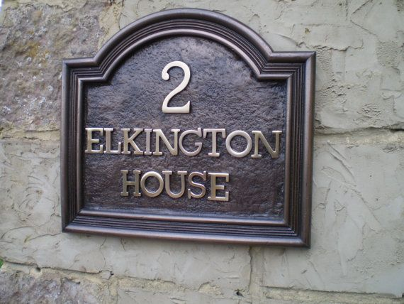 Vintage House Sign Traditional Style English Country House Wall Plaque In Cold Cast Bronze House Name Signs House Name Plaques House Wall Plaques
