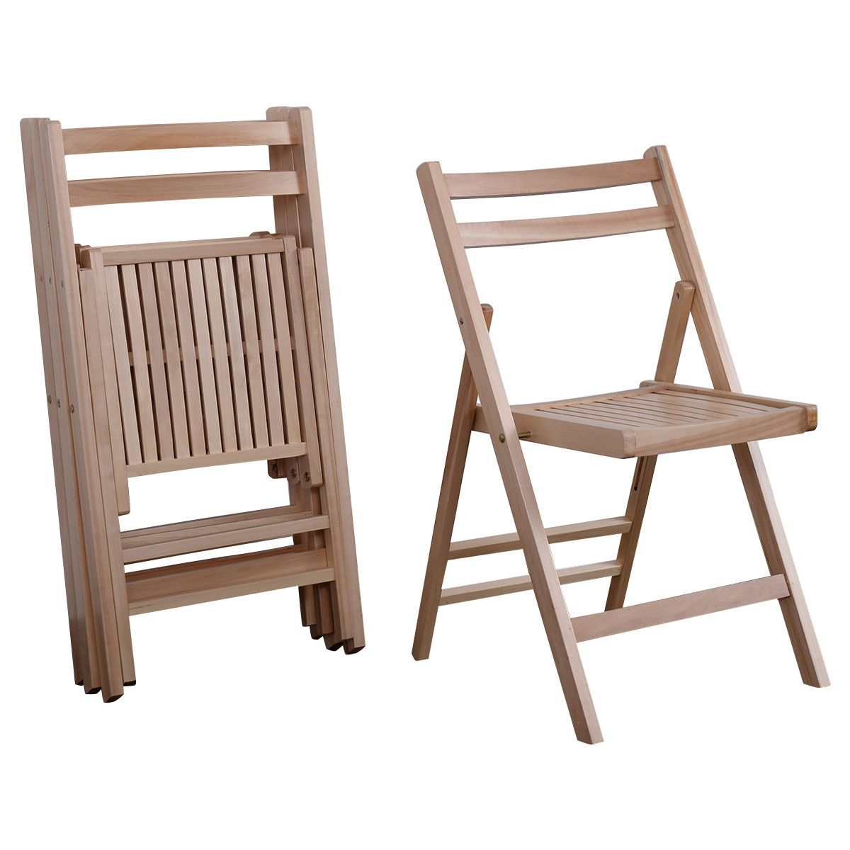 Set of wood folding chairs natural finish patio garden backyard