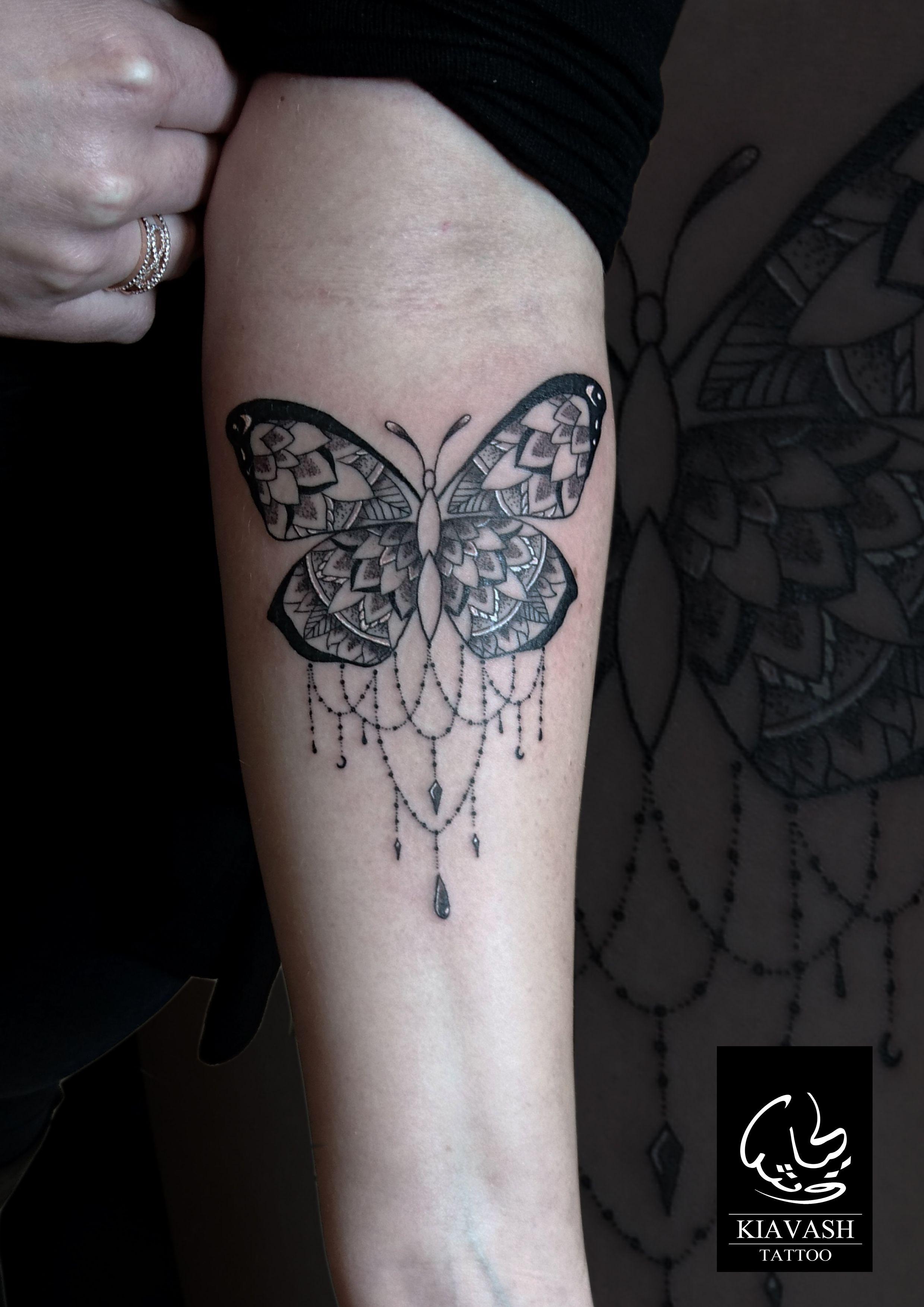 ornamental butterfly tattoo forearm girl Butterfly