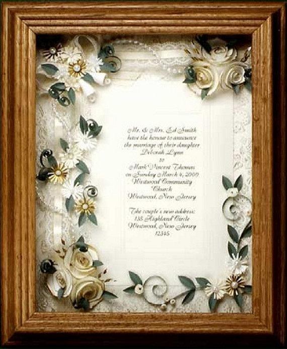 Framed wedding invitation. wedding gift, framed ivory wedding ...