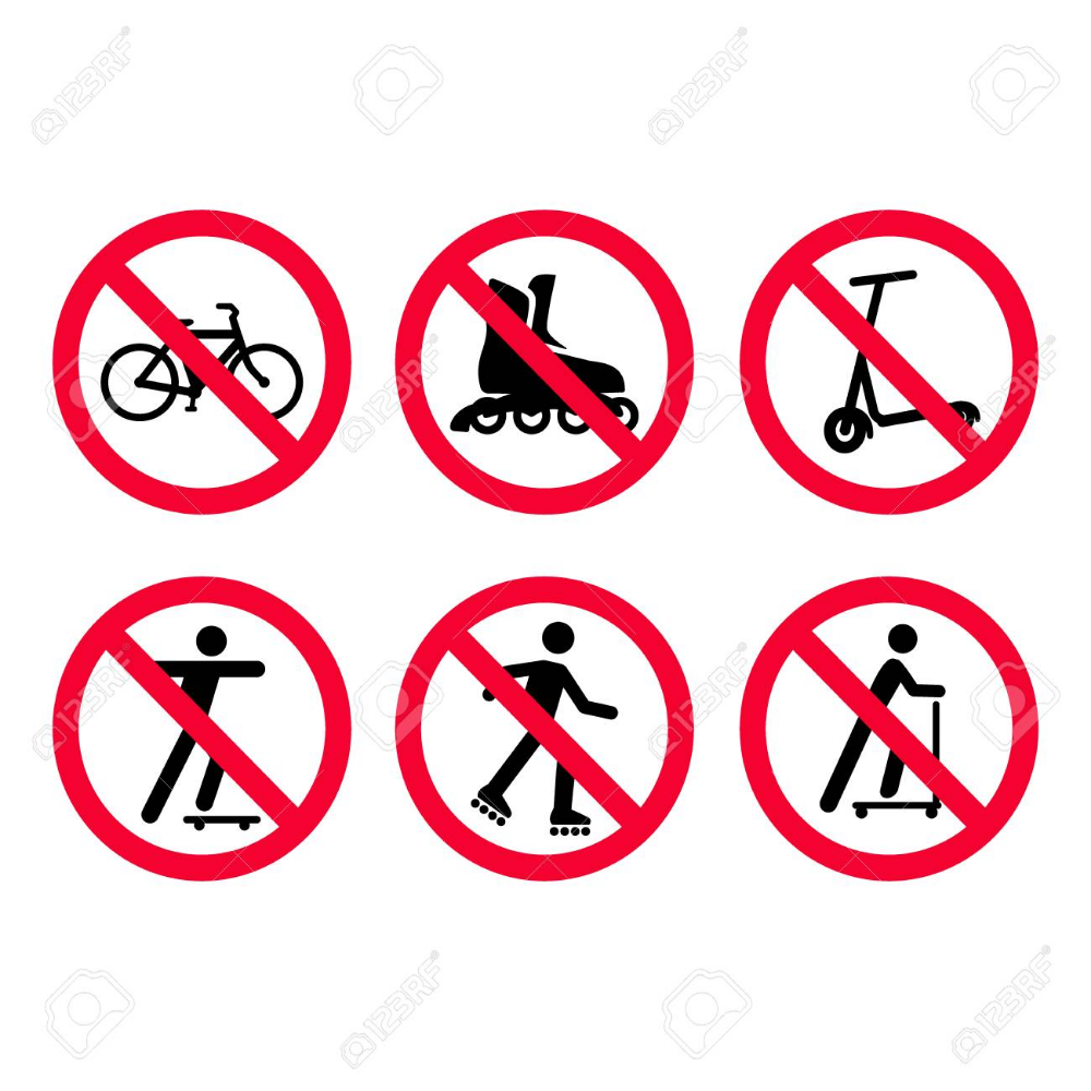 Red Prohibition Signs Set No Bicycles Biking No Roller Skating Roller Skating Roller Bicycle