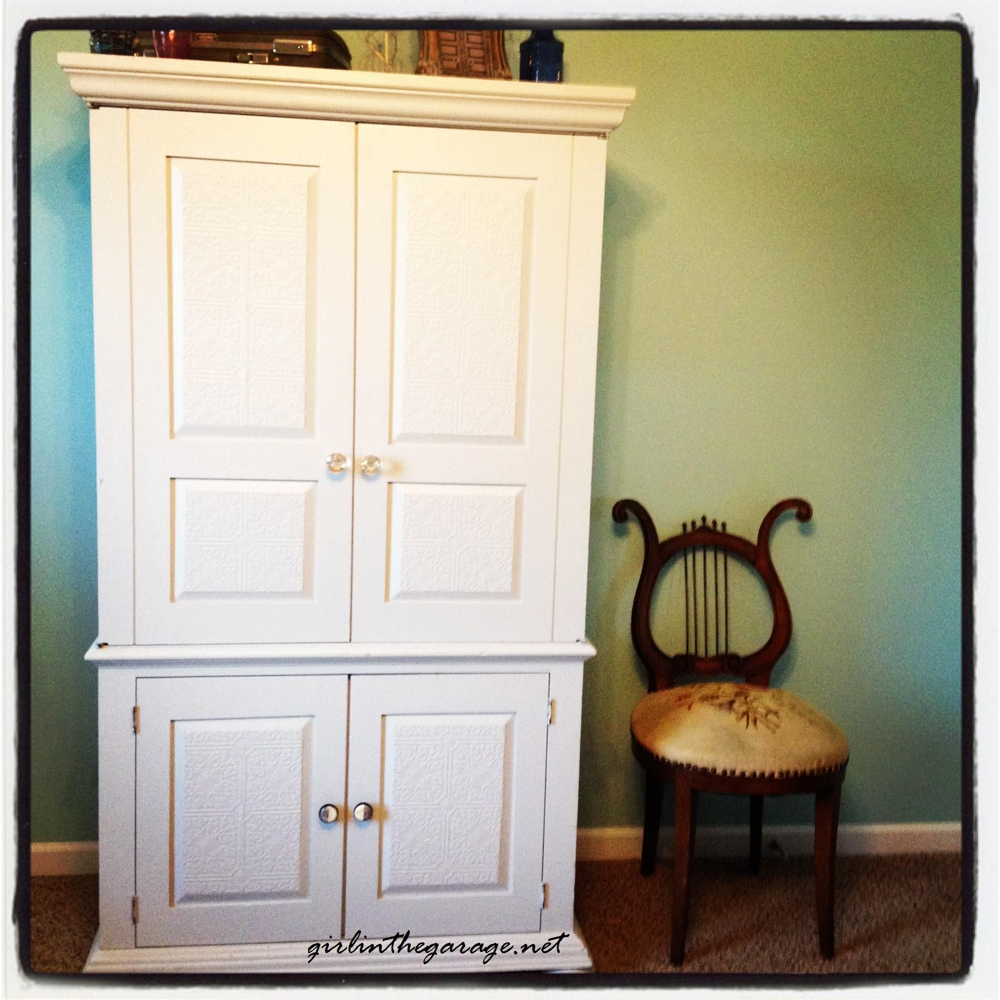 Drab-to-Fab Armoire Makeover | Pinterest | Painted wallpaper ...