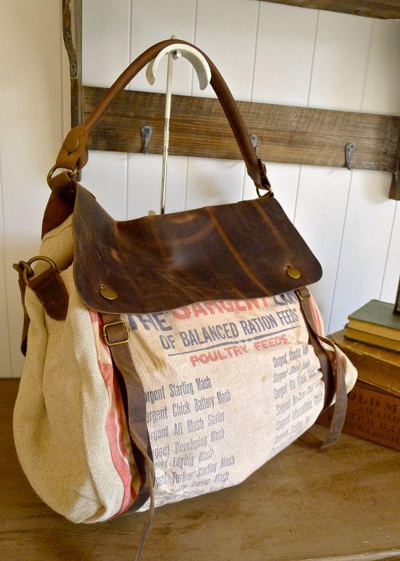 Sargent Line Ration Feeds - Des Moines, Iowa - Vintage Seed Sack Satchel Bag - Americana OOAK Canvas and Leather Handbag