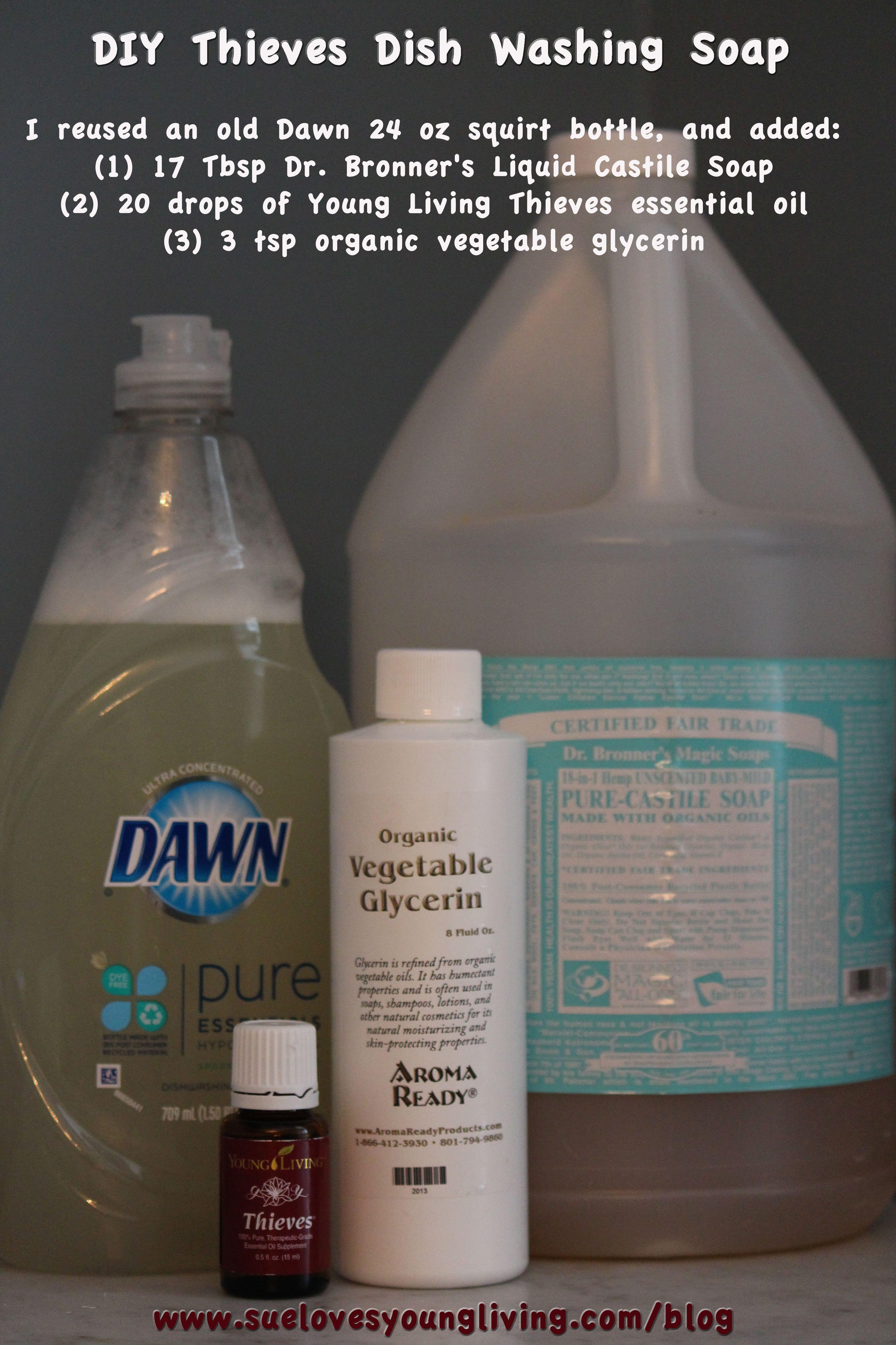 DIY Thieves Dishwashing Soap. Place ingredients in 24 oz