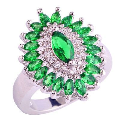 awesome Emerald Quartz White Topaz Silver Women Men Ring Size 7 8 9 10 Gemstone Jewelry - For Sale View more at http://shipperscentral.com/wp/product/emerald-quartz-white-topaz-silver-women-men-ring-size-7-8-9-10-gemstone-jewelry-for-sale/