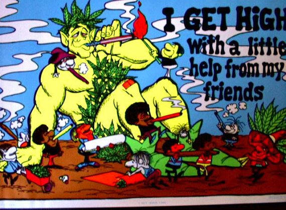 Stoned Jolly Green Giant Black Lite Poster '73 by AncientArt