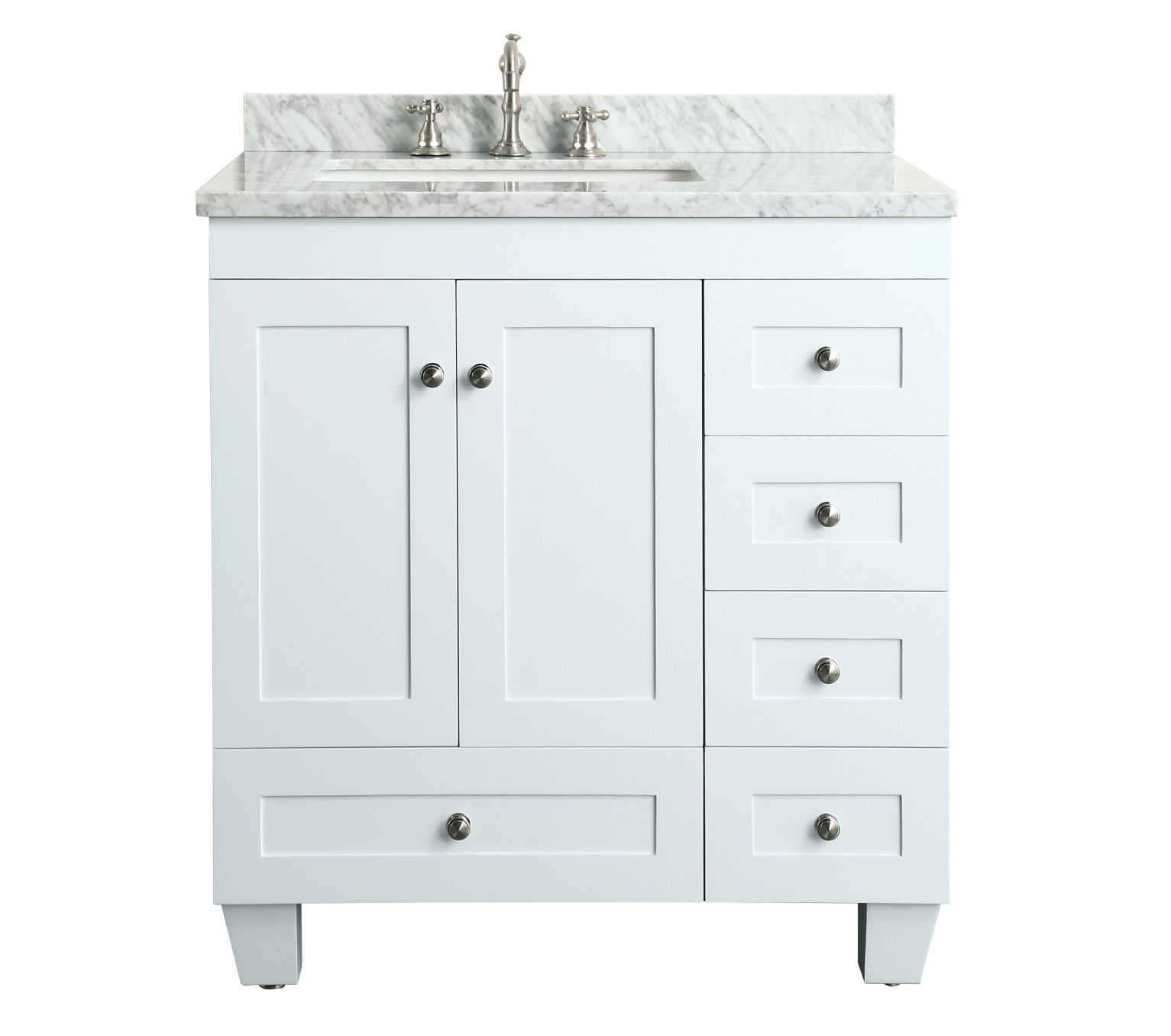 Contemporary 30 Inch White Finish Bathroom Vanity Marble
