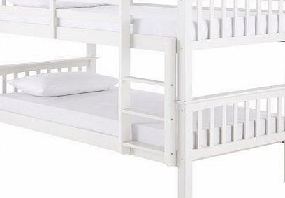 Right Deals Uk Novaro Pinewood White Bunk Bed Two Sleeper Quality Solid Pine Wood