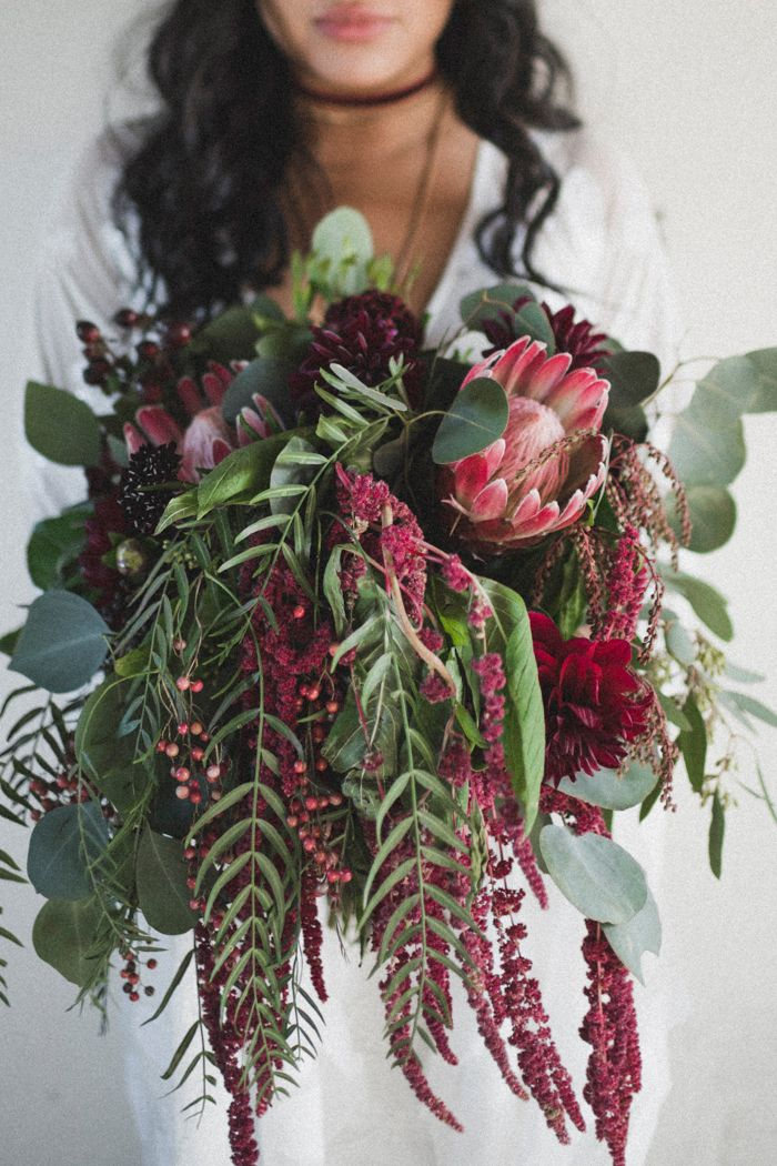 Cascading Pink Purple And Red Bridal Bouquet With Protea Accent
