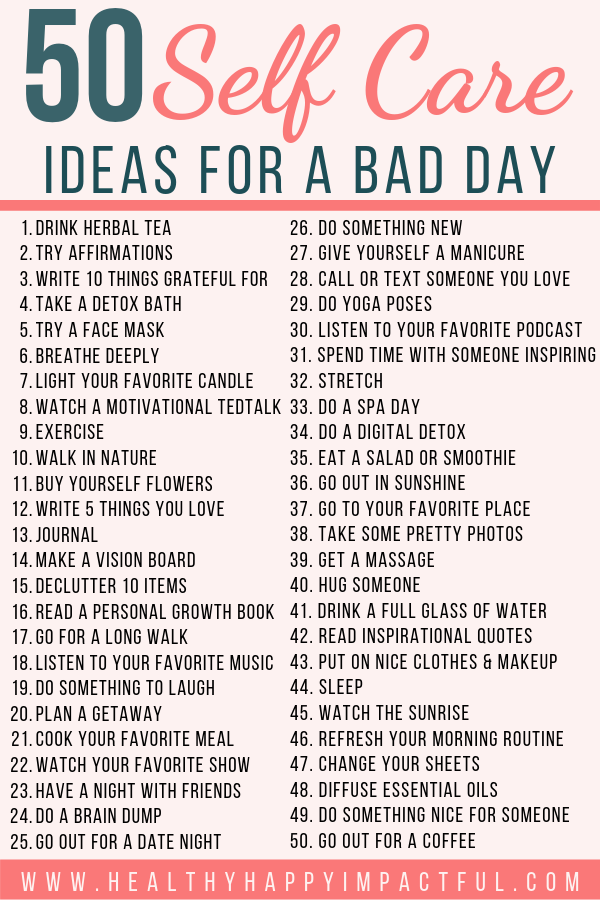 50 Self Care Ideas For A Bad Day #health