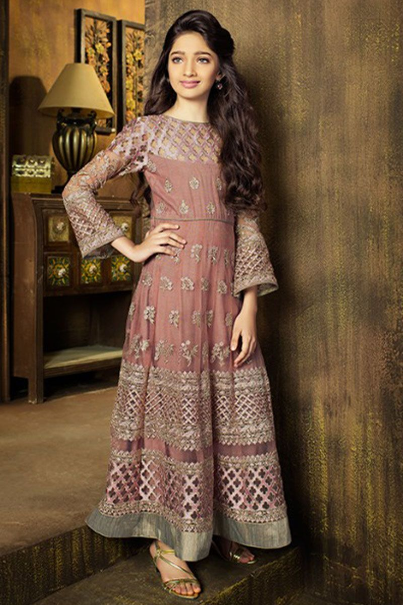 Beautiful peach color stylish embroidery work traditional fashion