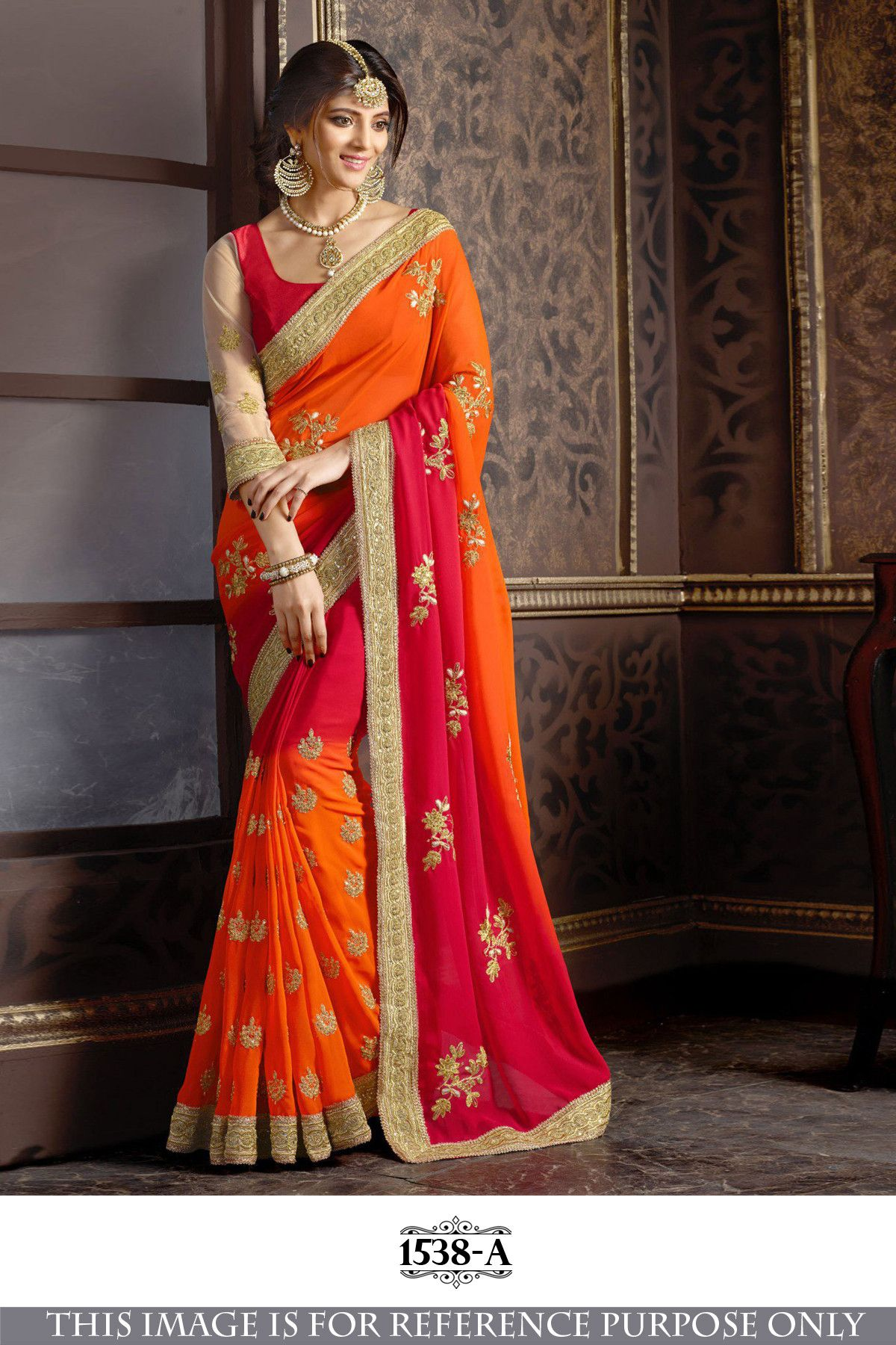 Pure georgett saree-sari for Party wear